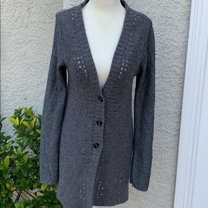 Free People Grey Long Button up Cardigan Size S